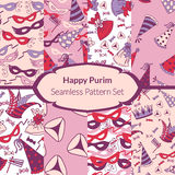 Seamless pattern set for Jewish holiday Purim Royalty Free Stock Images
