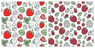 Seamless pattern set. Juicy berry collection. Strawberry and raspberry. Hand drawn color vector sketch background. Colorful doodle royalty free illustration