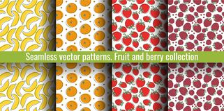 Seamless pattern set. Juicy fruit and berry collection. Banana, raspberry, orange, strawberry, tangerine. Hand drawn color vector vector illustration