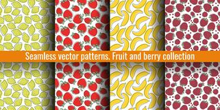 Seamless pattern set. Juicy fruit and berry collection. Lemon, strawberry, banana, raspberry. Hand drawn color vector sketch royalty free illustration