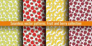 Seamless pattern set. Juicy fruit and berry collection. Lemon, strawberry, banana, raspberry. Hand drawn color vector sketch. Seamless pattern set. Juicy fruit royalty free illustration