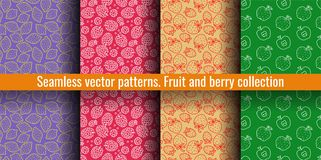 Seamless pattern set. Lemon, raspberry, strawberry, apple. Juicy fruit and berry collection. Hand drawn color vector sketch vector illustration