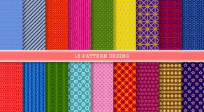 18 seamless Pattern In Set. Of Line Shapes in multicolored Royalty Free Stock Photo