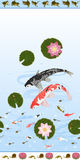 Seamless pattern set with lotus and carps koi. As well as border with frogs and border with snails lotus and shrimp. Vector illustration Royalty Free Stock Photo
