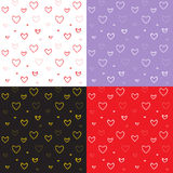 Seamless pattern set with mosaic valentine`s hearts. Vector illustration stock illustration