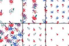 Seamless pattern set with nail polish Royalty Free Stock Photos