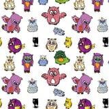 Seamless Pattern Set Of Owl Royalty Free Stock Photos