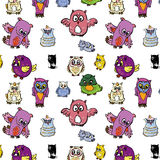 Seamless pattern set of owl Royalty Free Stock Photos