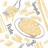 Seamless pattern set pasta with title. Farfalle, conchiglie, penne, fusilli and spaghetti on fork. Vector vintage engraving illustration for poster, menu, web Royalty Free Stock Image
