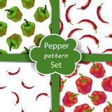 Seamless pattern set with peppers. Stock Photo