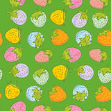 Seamless pattern Set pink blue green orange lilac pastel color strawberries on light green background. Hand drawn sketch. Vector Stock Image