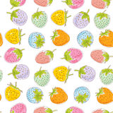 Seamless pattern Set pink blue green orange lilac pastel color strawberries on white background. Hand drawn sketch. Vector Stock Photo