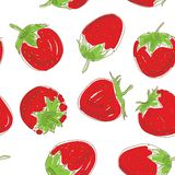 Seamless pattern Set red strawberries on a white background. Hand drawn sketch.  Stock Photography