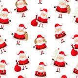 Seamless pattern set of Santa Clauses Royalty Free Stock Image