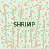 A seamless pattern from the set of shrimps. A seamless pattern from the set of of shrimps and the green leaves inside the ocean at the light green background Stock Images