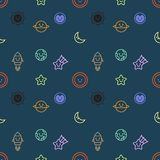 Seamless pattern with set of space and galaxy objects icon design, dark background, vector. For artwork, wallpaper or background vector illustration