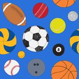 Seamless pattern with set of sport balls. Hand drawn colored vector sketch. Blue background. Pattern included.  Stock Images