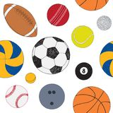 Seamless pattern with set of sport balls. Hand drawn colored vector sketch. White background. Pattern included.  Stock Images