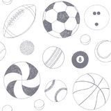Seamless pattern with set of sport balls. Hand drawn vector sketch. Gray sport items on white background. Pattern. Included Royalty Free Stock Photography