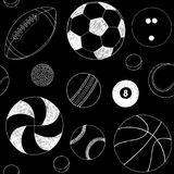 Seamless pattern with set of sport balls. Hand drawn vector sketch. White sport items on black background. Pattern. Included Royalty Free Stock Photo