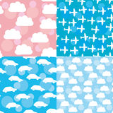 Seamless pattern set sunset, sunrise, sky, clouds white silhouet Royalty Free Stock Photo