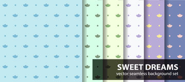 Seamless pattern set Sweet dreams. Vector pastel backgrounds: cotton flowers and dots on multicolor backdrops Stock Images