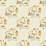 Seamless pattern: a set of things for the school Royalty Free Stock Images