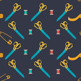 Seamless pattern set of tools for sewing. Stock Image