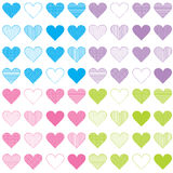 Seamless pattern with sets of hearts Royalty Free Stock Photo