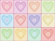 Pattern with sewed felt hearts Royalty Free Stock Image