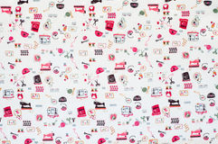 Seamless pattern, sewing accessories fabric background. royalty free stock photos