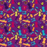 Seamless pattern with sewing accessories. On violet background Stock Image