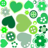 Seamless pattern with sewing buttons and flowers Royalty Free Stock Photos