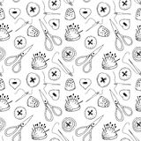Seamless pattern with sewing items Royalty Free Stock Image