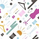Seamless pattern with sewing items. Vector Illustration.  Royalty Free Stock Image