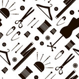 Seamless pattern with sewing items. Vector Illustration. Black and white background Royalty Free Stock Photos