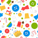 Seamless pattern with sewing kit and tools.Scissors, thread, needles , ribbons. Stock Photography