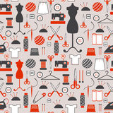 Seamless pattern Sewing and needlework icons. Seamless pattern - Sewing and needlework icons Royalty Free Stock Photos