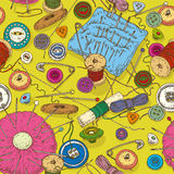 Seamless pattern with Sewing Supplies, Tools and Royalty Free Stock Photos