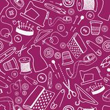 Seamless pattern with sewing and tailoring stuff Stock Photos