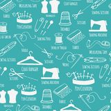 Seamless pattern with sewing and tailoring stuff Royalty Free Stock Photos