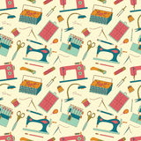 Seamless pattern of sewing tools icons Royalty Free Stock Image