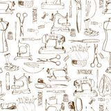 Seamless pattern, sewing tools. Objects hand drawn Royalty Free Stock Images