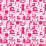 Seamless pattern, sewing tools silhouettes. Hand drawn Stock Photography