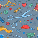 Seamless pattern with sewing tools Royalty Free Stock Photography
