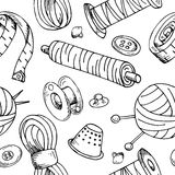 Seamless pattern with sewing tools.  Royalty Free Stock Photography