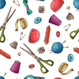 Seamless pattern with sewing tools.  Royalty Free Stock Photo