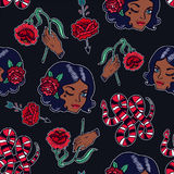 Seamless pattern with girl, flash elements. Royalty Free Stock Photography