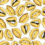 Seamless pattern with sexy golden lips. Vector illustration Royalty Free Stock Image