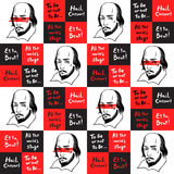 Seamless pattern with Shakespeare portrait and quotes Royalty Free Stock Photography